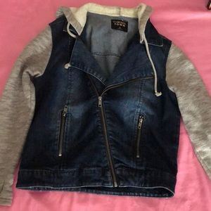 A Jean Jacket w/ sweatshirt sleeves.